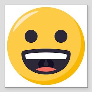 """Grinning-face Emoji Square Car Magnet 3"""" x 3"""""""
