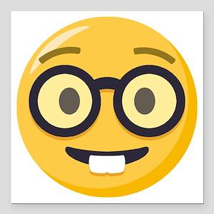 """Nerd-face Emoji Square Car Magnet 3"""" x 3"""""""