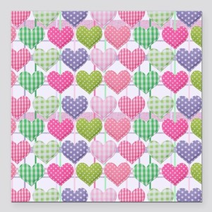 "Gingham Hearts Pastel Pa Square Car Magnet 3"" x 3"""
