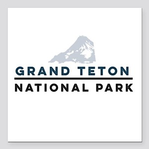 "Grand Teton National Par Square Car Magnet 3"" x 3"""