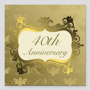 "Fancy 40th Wedding Anniv Square Car Magnet 3"" x 3"""
