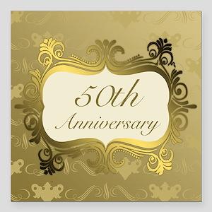 "Fancy 50th Wedding Anniv Square Car Magnet 3"" x 3"""