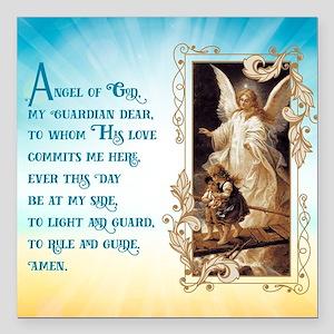 "Angel of God (Day) Square Car Magnet 3"" x 3"""