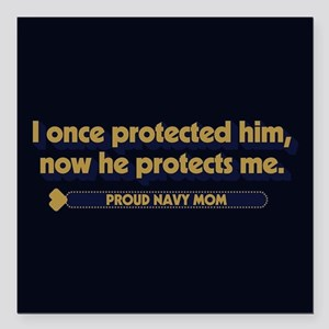 """U.S. Navy Now He Protect Square Car Magnet 3"""" x 3"""""""