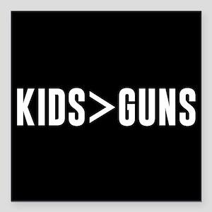 "Kids>Guns Square Car Magnet 3"" x 3"""