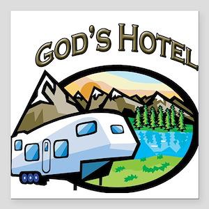 God's Hotel Square Car Magnet
