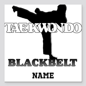 Personalized TaeKwonDo Black Belt Square Car Magne