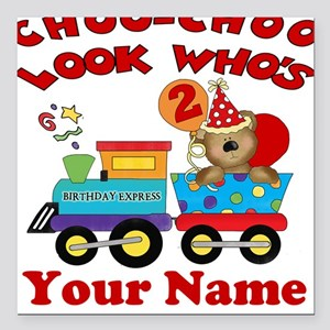 2nd Birthday Train Square Car Magnet