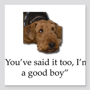 """Sulking Airedale Terrier Square Car Magnet 3"""" x 3"""""""