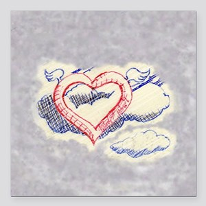 """flying heart 7 Square Car Magnet 3"""" x 3"""""""