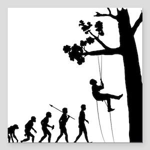 "Tree-Climbing Square Car Magnet 3"" x 3"""