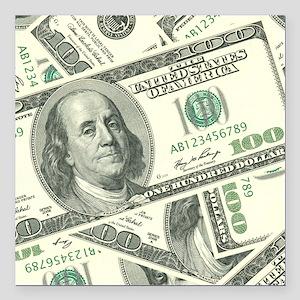 "100 Dollar Bill Money Pa Square Car Magnet 3"" x 3"""