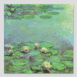 """Waterlilies by Claude Mo Square Car Magnet 3"""" x 3"""""""