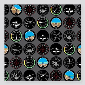 "Flight Instruments Square Car Magnet 3"" x 3"""