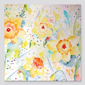 "Watercolor yellow flower Square Car Magnet 3"" x 3"""