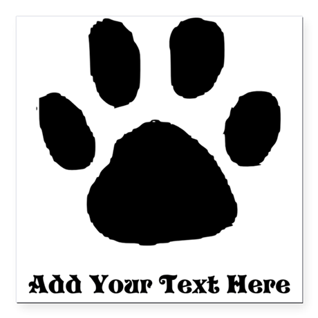 Paw Print Template Square Car Magnet 3 X 3 By Diy4