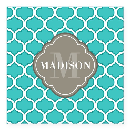 Monogram Grey Quatrefoil Teal Lattice