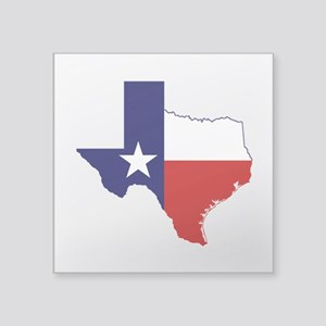 "Texas Flag on Texas Outline Square Sticker 3"" x 3"""