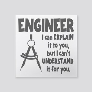 "ENGINEER COMPASS Square Sticker 3"" x 3"""