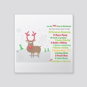 Red Nose Reindeer And Colorful 12 Days Of Sticker