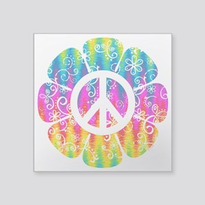 "Colorful Peace Flower Square Sticker 3"" x 3"""