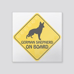 "German Shepherd On Board Square Sticker 3"" x 3"""