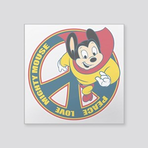 "Peace Love Mighty Mouse Square Sticker 3"" X 3"