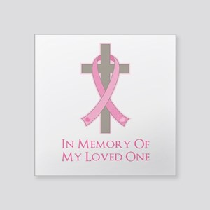 "In Memory Cross Square Sticker 3"" x 3"""