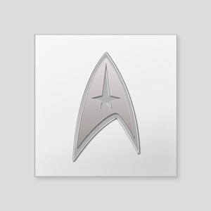 STAR TREK Silver Metallic Insignia Square Sticker