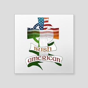 "Irish American Celtic Cross Square Sticker 3"""