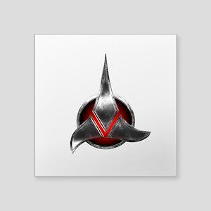 "Star Trek KLINGON Metal Logo Square Sticker 3"" x 3"