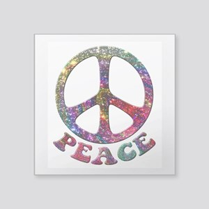 "Jewelled Peace Symbol Square Sticker 3"" x 3"""