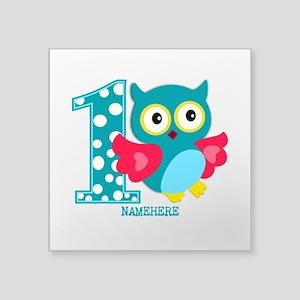 "Cute First Birthday Owl Square Sticker 3"" x 3"""