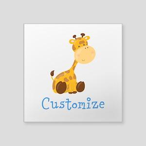 "Custom Baby Giraffe Square Sticker 3"" x 3"""