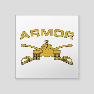 """Armor Branch Insignia Square Sticker 3"""" x 3"""""""