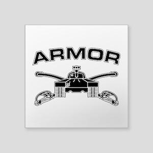 """Armor Branch Insignia (BW) Square Sticker 3"""" x 3"""""""