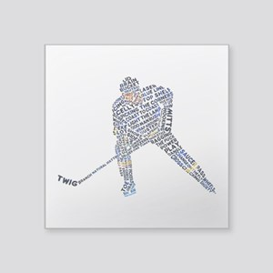 "Hockey Player Typography Square Sticker 3"" x"
