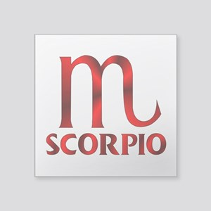 "Red Scorpio Symbol Square Sticker 3"" x 3"""