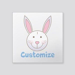 "Custom Easter Bunny Square Sticker 3"" x 3"""