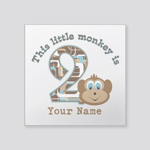 2nd Birthday Monkey Personalized Square Sticker 3""