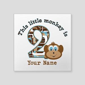 "2nd Birthday Monkey Personalized Square Sticker 3"""