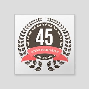 """45Years Anniversary Laurel Square Sticker 3"""" x 3"""""""