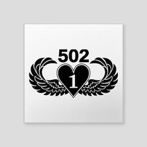"""1-502 Black Heart Square Sticker 3"""" x 3"""""""