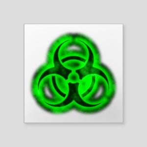 "glowingBiohazardGreenTCrop Square Sticker 3"" x 3"""