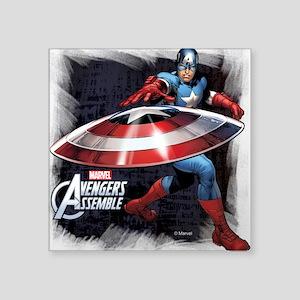 """Captain America with Shield Square Sticker 3"""" x 3"""""""
