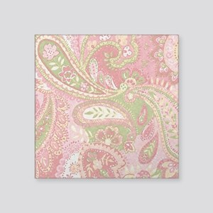 """Baby Pink Paisley Watercolo Square Sticker 3"""" x 3"""""""