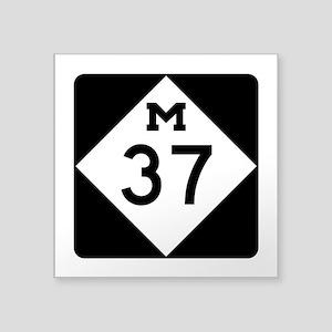 """M-37, Michigan Square Sticker 3"""" x 3"""""""