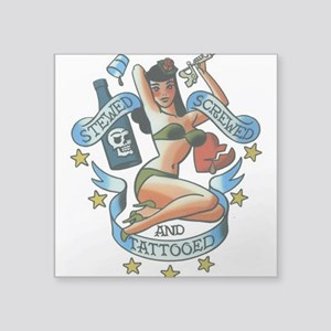 "Sexy Pin Up Square Sticker 3"" x 3"""