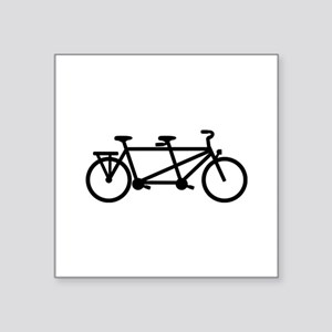 "Tandem Bicycle Square Sticker 3"" x 3"""