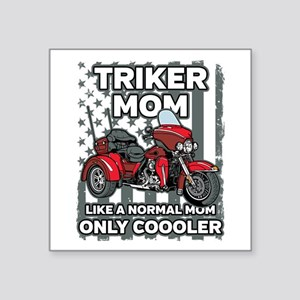 "Motorcycle Triker Mom Square Sticker 3"" x 3"""